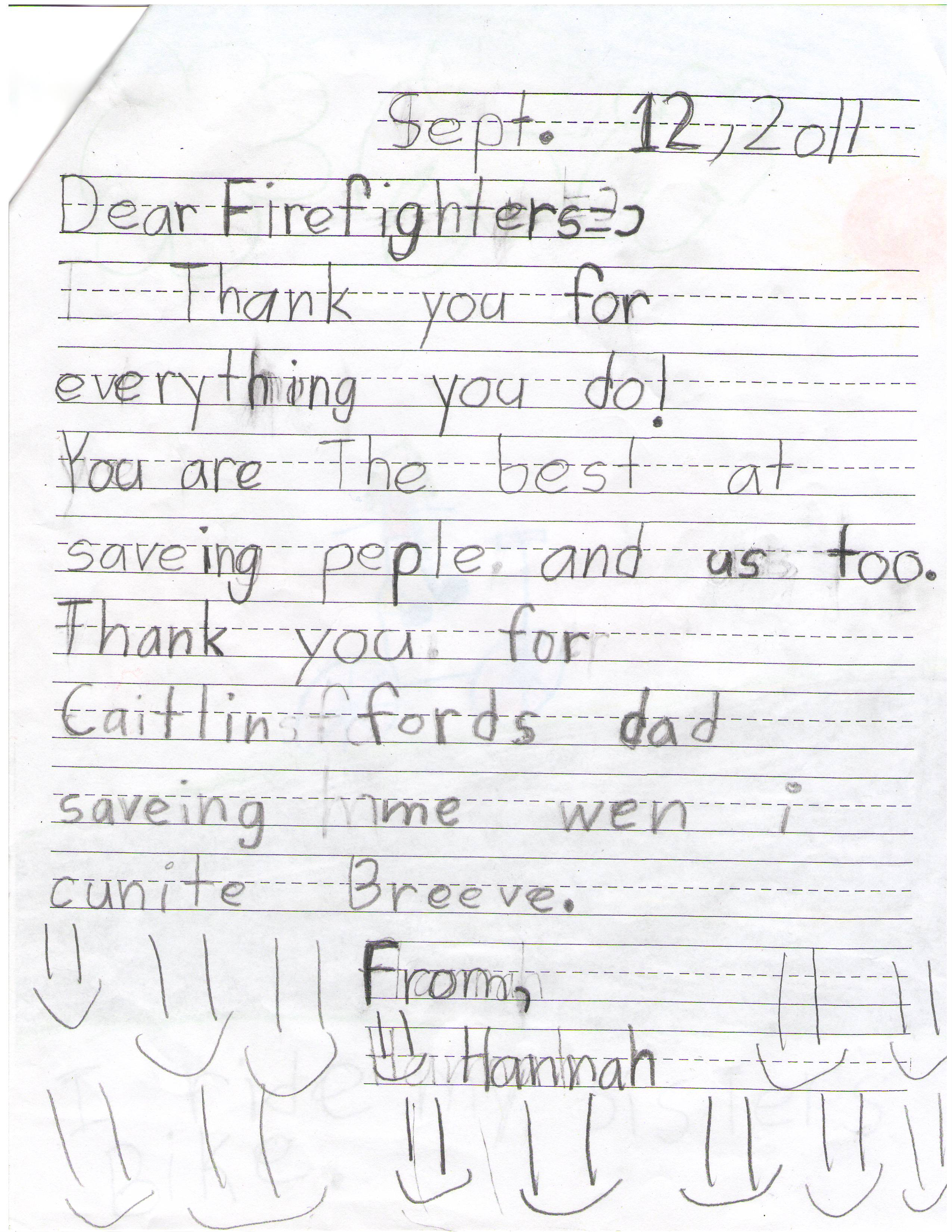 Hannah Firefighter Letter The Lucas Lodge